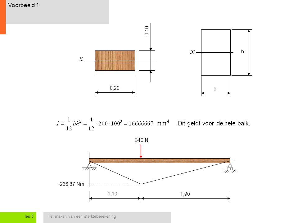 Het maken van een sterkteberekeningles 5 Voorbeeld 1 1,10 1,90 -236,87 Nm 340 N 0,20 0,10 b h