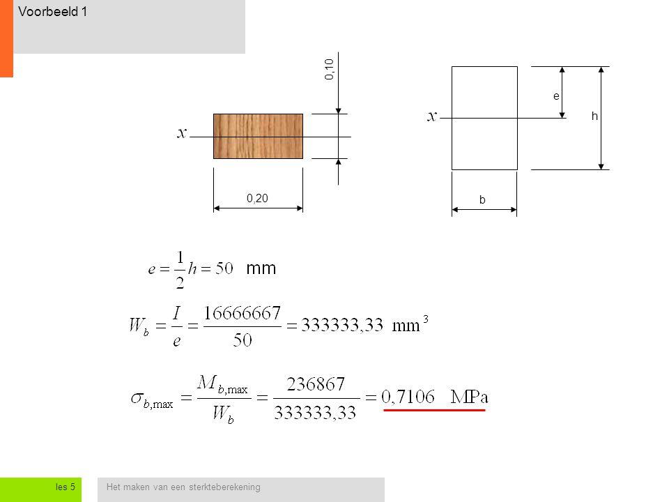 Het maken van een sterkteberekeningles 5 0,20 0,10 b h e Voorbeeld 1
