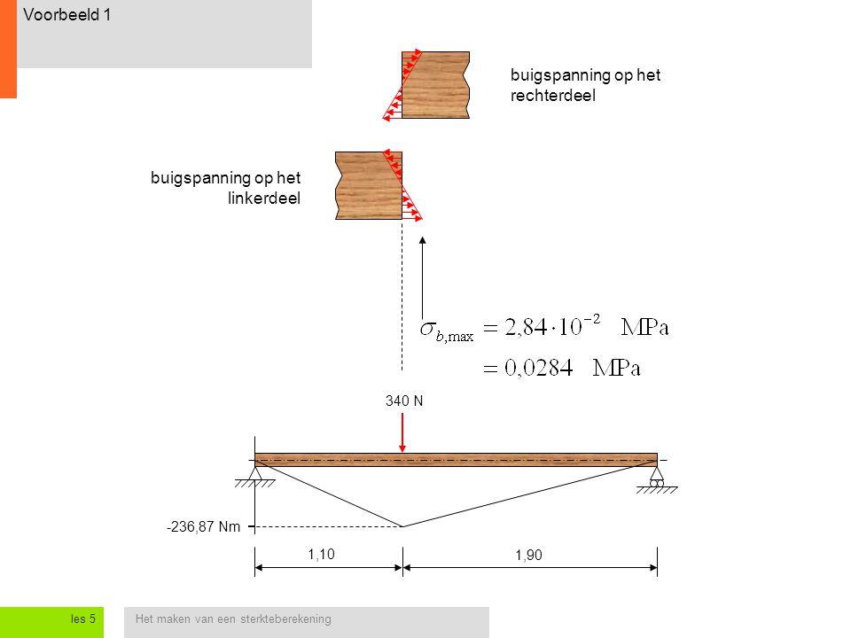Het maken van een sterkteberekeningles 5 1,10 1,90 -236,87 Nm 340 N buigspanning op het rechterdeel buigspanning op het linkerdeel Voorbeeld 1