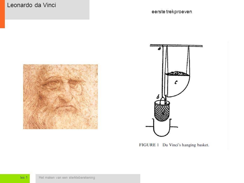 Het maken van een sterkteberekeningles 1 Leonardo da Vinci eerste trekproeven