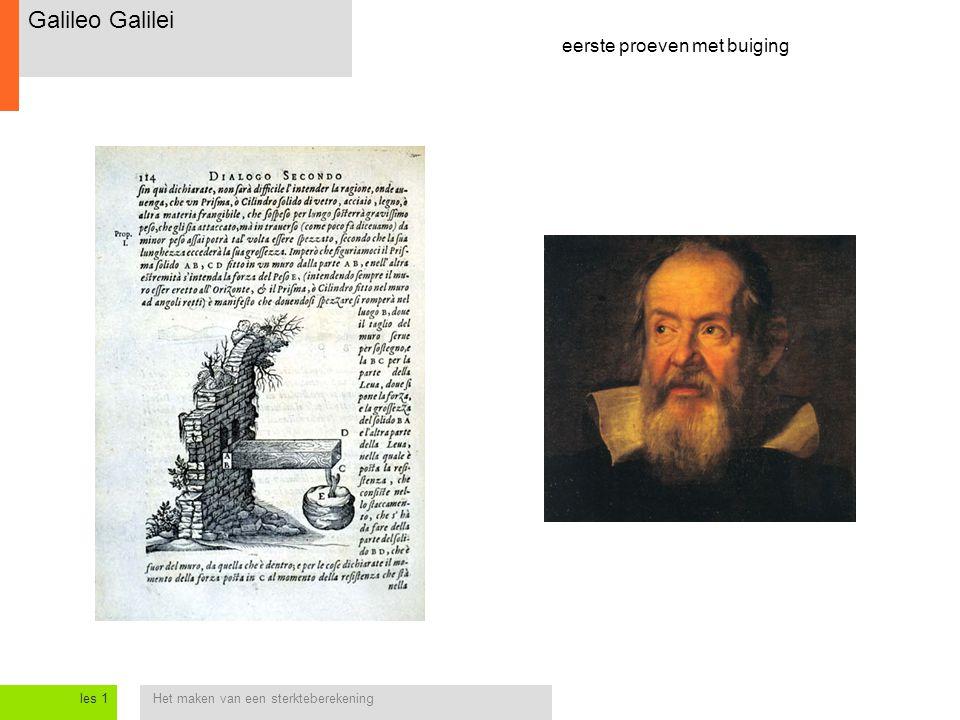 Het maken van een sterkteberekeningles 1 Galileo Galilei eerste proeven met buiging