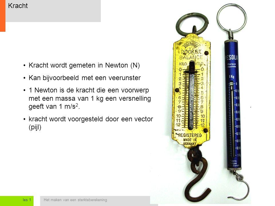 Het maken van een sterkteberekeningles 1 Kracht Kracht wordt gemeten in Newton (N) Kan bijvoorbeeld met een veerunster 1 Newton is de kracht die een voorwerp met een massa van 1 kg een versnelling geeft van 1 m/s 2.