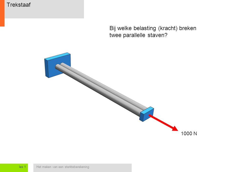 Het maken van een sterkteberekeningles 1 Trekstaaf Bij welke belasting (kracht) breken twee parallelle staven.