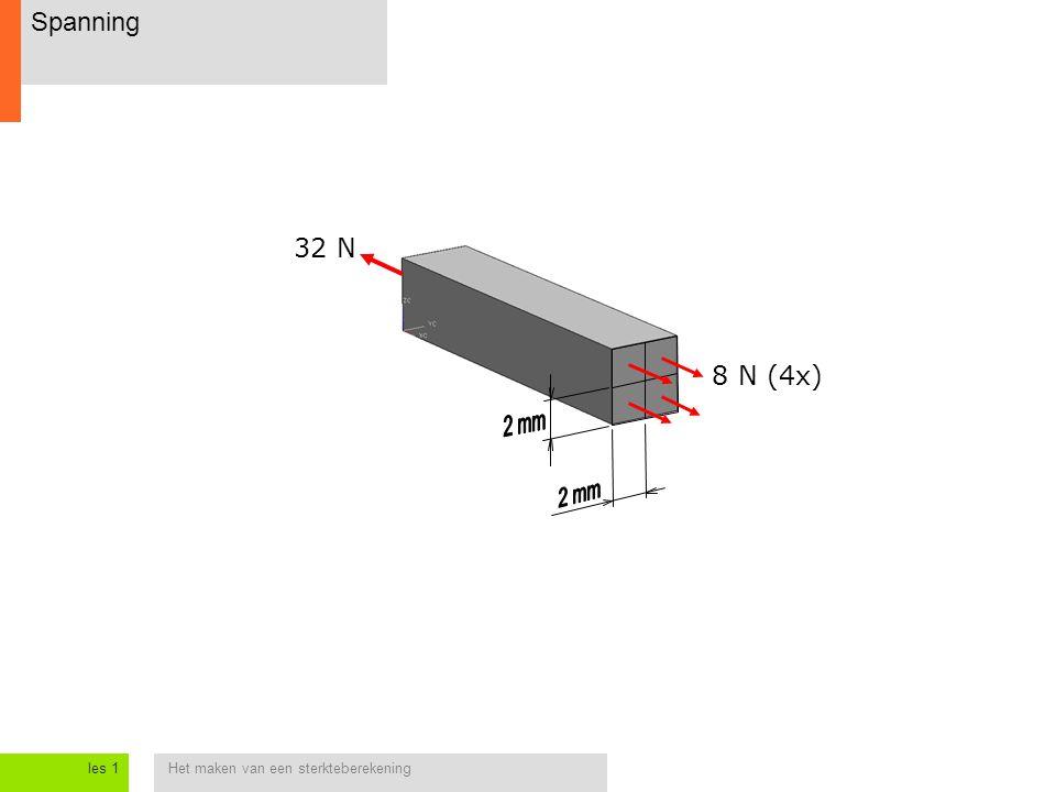 Het maken van een sterkteberekeningles 1 Spanning 32 N 8 N (4x)