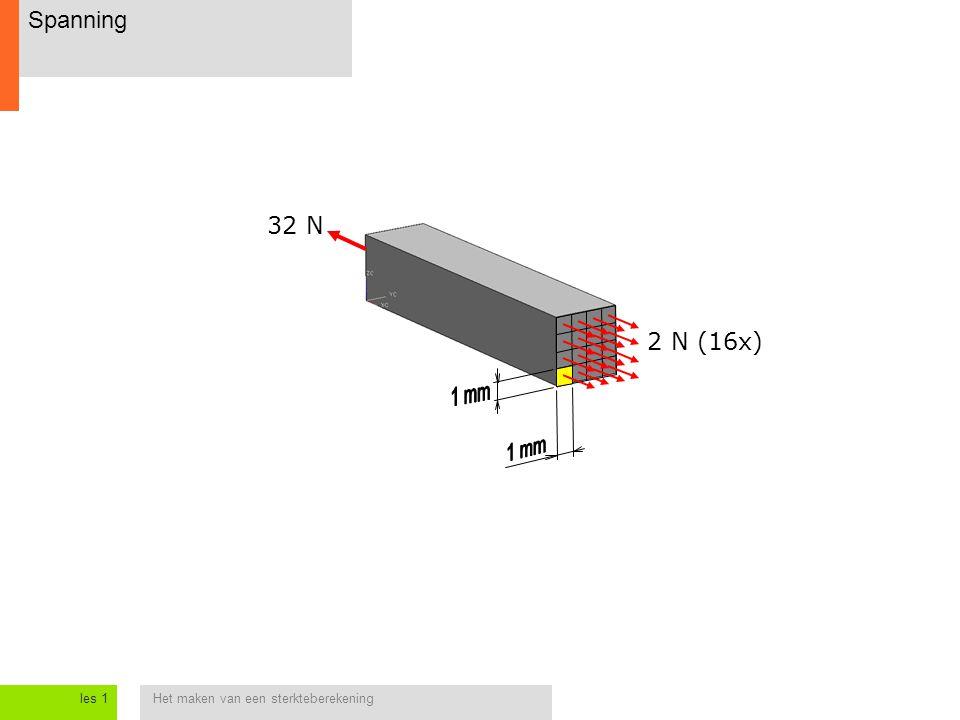 Het maken van een sterkteberekeningles 1 Spanning 32 N 2 N (16x)