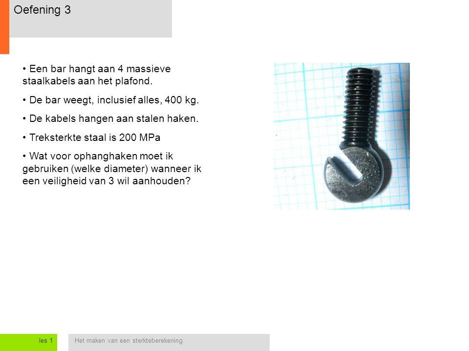 Het maken van een sterkteberekeningles 1 Oefening 3 Een bar hangt aan 4 massieve staalkabels aan het plafond.