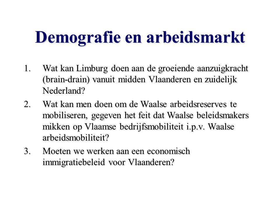 Demografie en arbeidsmarkt 1.Wat kan Limburg doen aan de groeiende aanzuigkracht (brain-drain) vanuit midden Vlaanderen en zuidelijk Nederland.