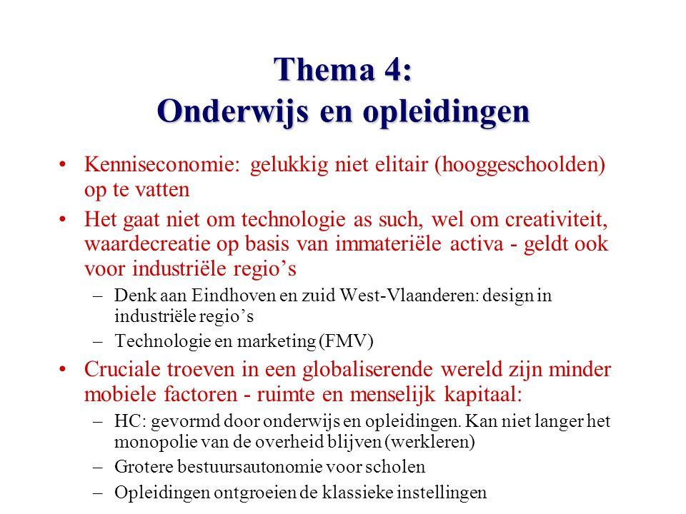 Thema 4: Onderwijs en opleidingen Kenniseconomie: gelukkig niet elitair (hooggeschoolden) op te vatten Het gaat niet om technologie as such, wel om creativiteit, waardecreatie op basis van immateriële activa - geldt ook voor industriële regio's –Denk aan Eindhoven en zuid West-Vlaanderen: design in industriële regio's –Technologie en marketing (FMV) Cruciale troeven in een globaliserende wereld zijn minder mobiele factoren - ruimte en menselijk kapitaal: –HC: gevormd door onderwijs en opleidingen.
