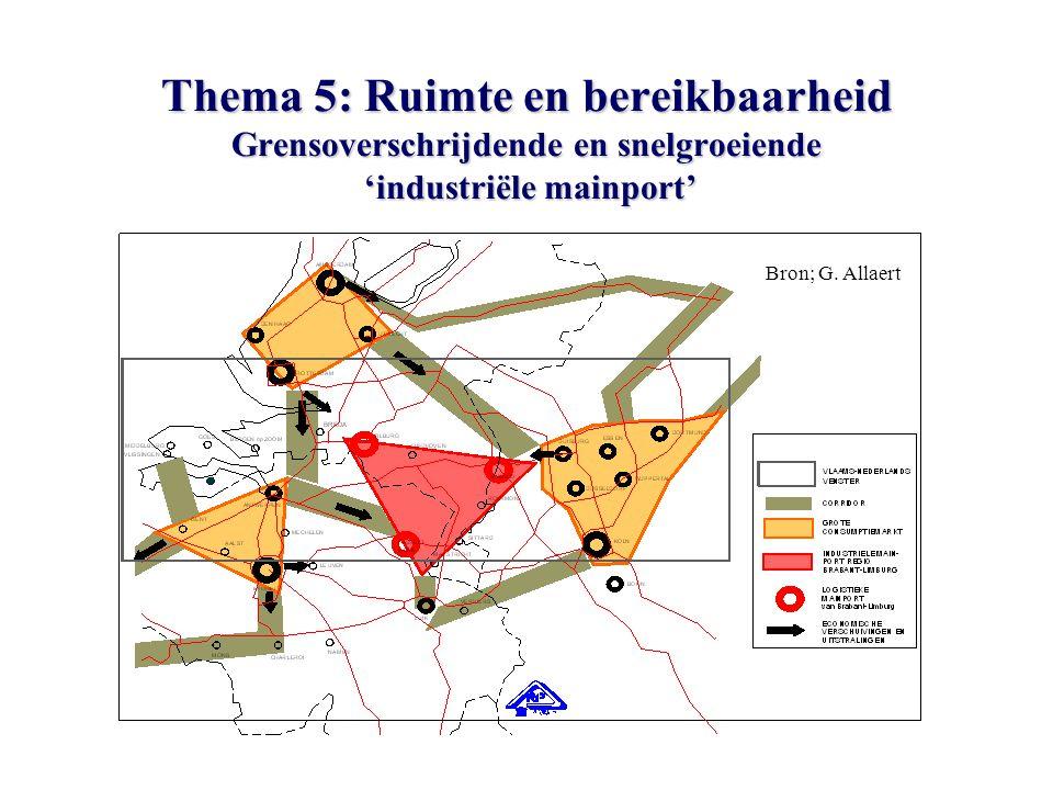 Thema 5: Ruimte en bereikbaarheid Grensoverschrijdende en snelgroeiende 'industriële mainport' Bron; G.