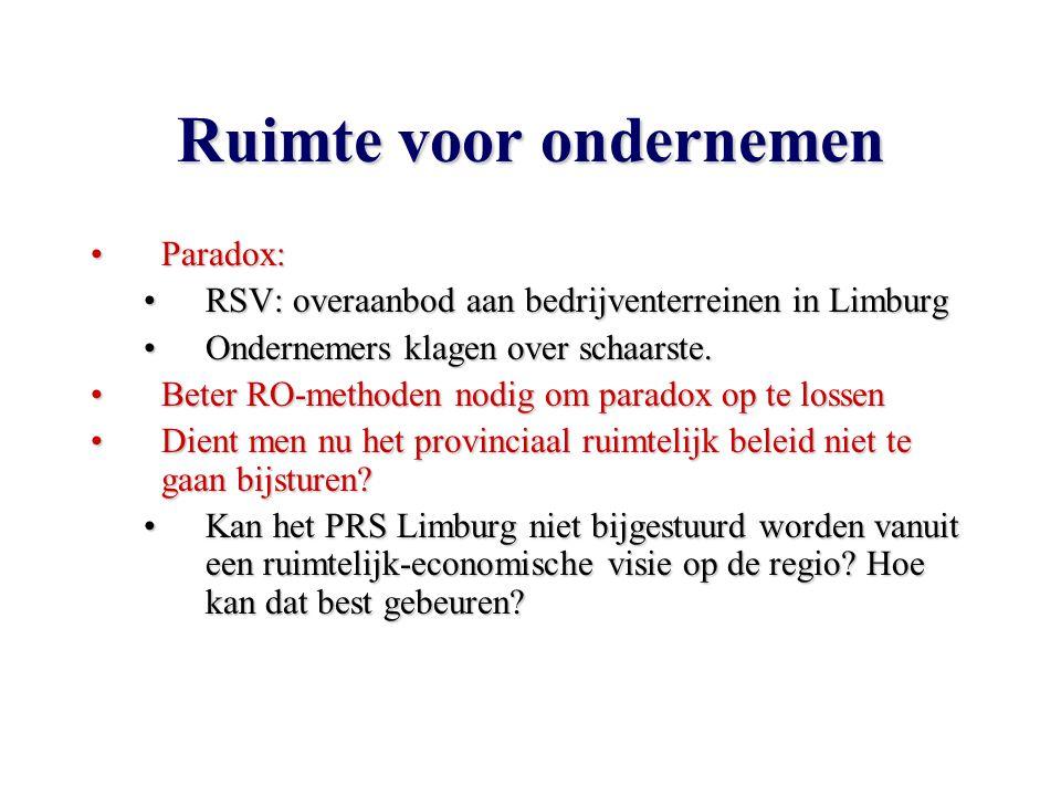 Ruimte voor ondernemen Paradox:Paradox: RSV: overaanbod aan bedrijventerreinen in LimburgRSV: overaanbod aan bedrijventerreinen in Limburg Ondernemers klagen over schaarste.Ondernemers klagen over schaarste.