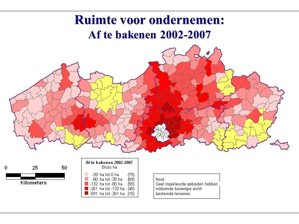 Ruimte voor ondernemen: Af te bakenen 2002-2007