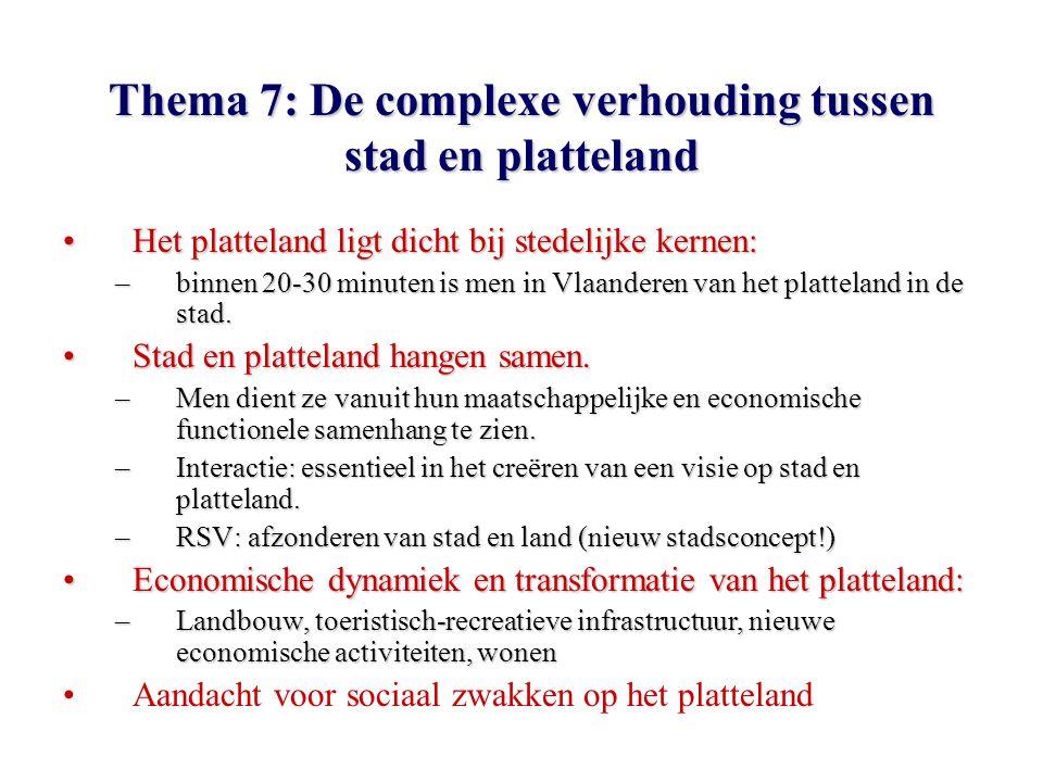 Thema 7: De complexe verhouding tussen stad en platteland Het platteland ligt dicht bij stedelijke kernen:Het platteland ligt dicht bij stedelijke kernen: –binnen 20-30 minuten is men in Vlaanderen van het platteland in de stad.