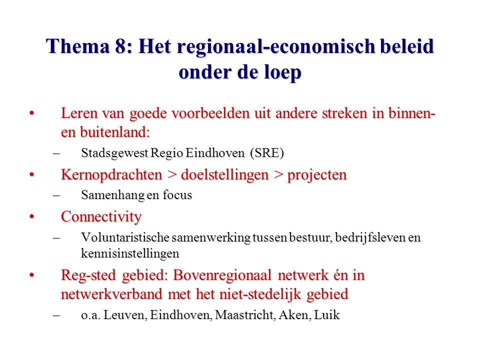 Thema 8: Het regionaal-economisch beleid onder de loep Leren van goede voorbeelden uit andere streken in binnen- en buitenland:Leren van goede voorbeelden uit andere streken in binnen- en buitenland: –Stadsgewest Regio Eindhoven (SRE) Kernopdrachten > doelstellingen > projectenKernopdrachten > doelstellingen > projecten –Samenhang en focus ConnectivityConnectivity –Voluntaristische samenwerking tussen bestuur, bedrijfsleven en kennisinstellingen Reg-sted gebied: Bovenregionaal netwerk én in netwerkverband met het niet-stedelijk gebiedReg-sted gebied: Bovenregionaal netwerk én in netwerkverband met het niet-stedelijk gebied –o.a.