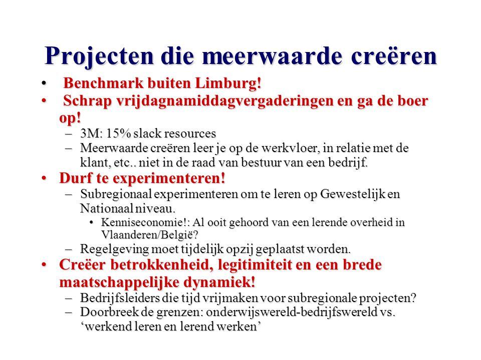 Projecten die meerwaarde creëren Benchmark buiten Limburg.