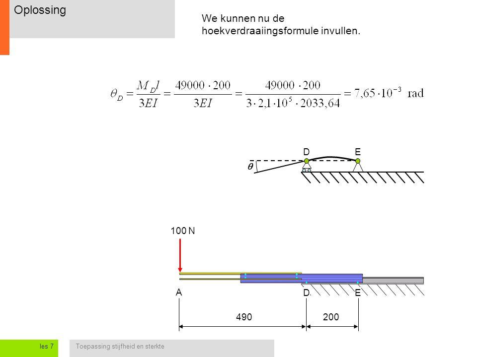 Toepassing stijfheid en sterkteles 7 Oplossing 100 N We kunnen nu de hoekverdraaiingsformule invullen. A DE E  490200 D
