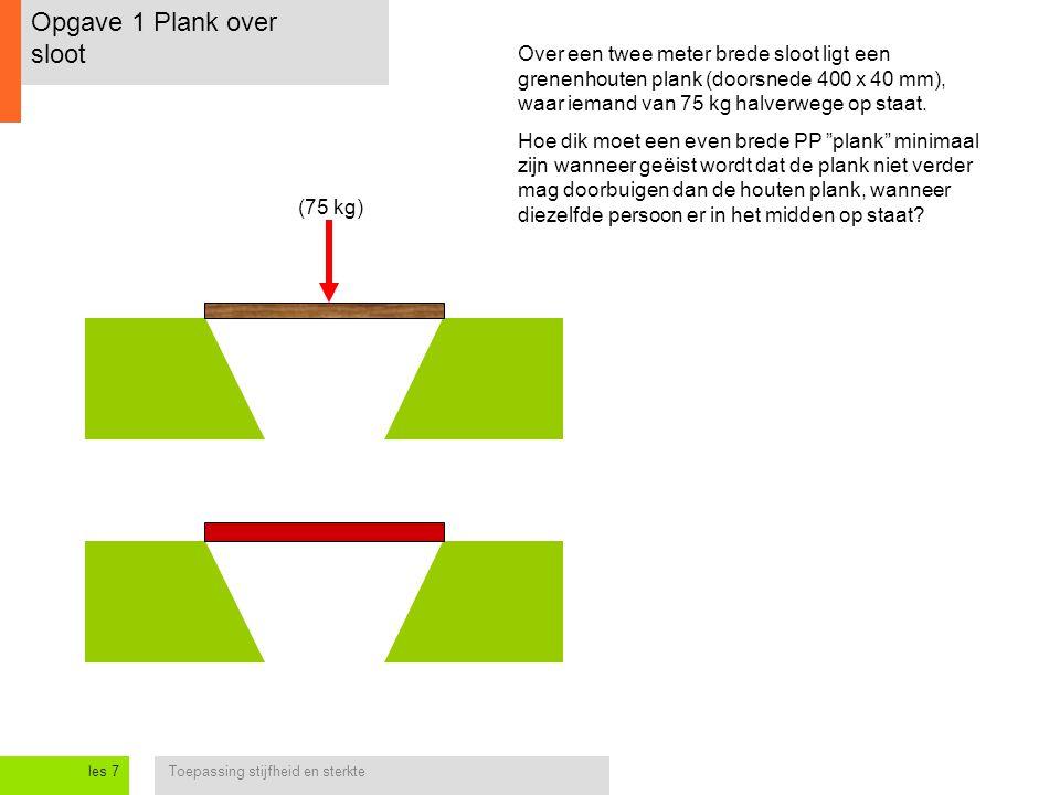 Toepassing stijfheid en sterkteles 7 Opgave 1 Plank over sloot Over een twee meter brede sloot ligt een grenenhouten plank (doorsnede 400 x 40 mm), waar iemand van 75 kg halverwege op staat.