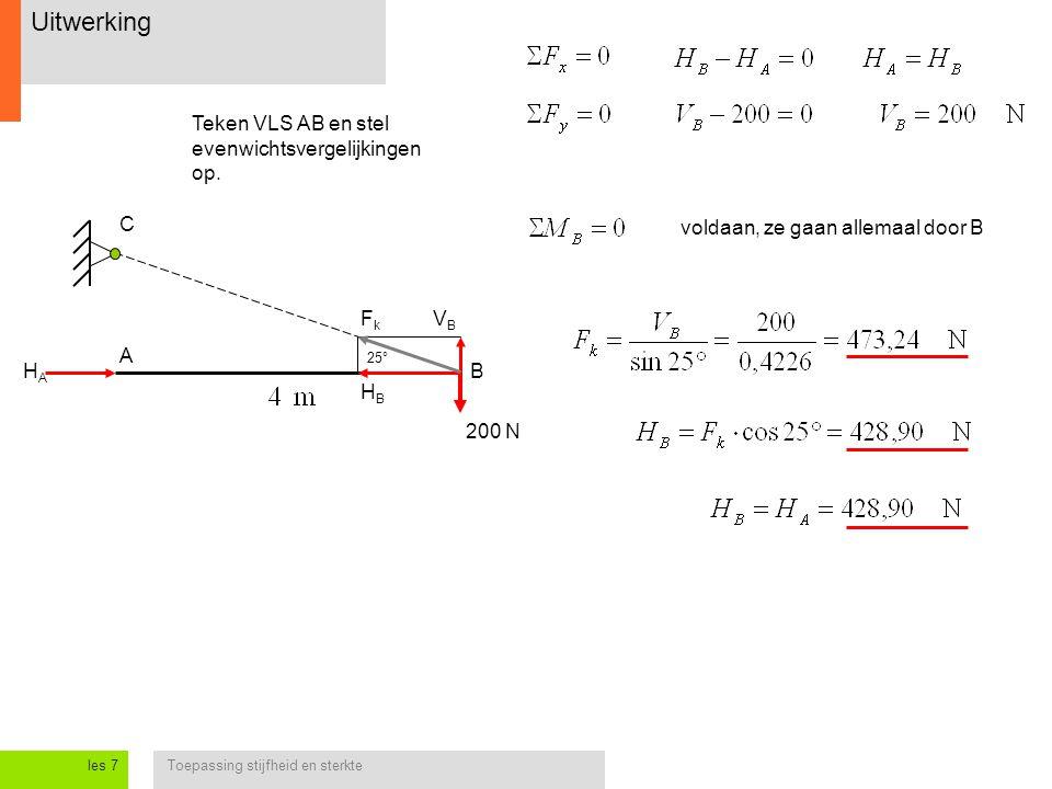Toepassing stijfheid en sterkteles 7 Uitwerking 200 N HAHA B C 25° HBHB VBVB FkFk A Teken VLS AB en stel evenwichtsvergelijkingen op. voldaan, ze gaan