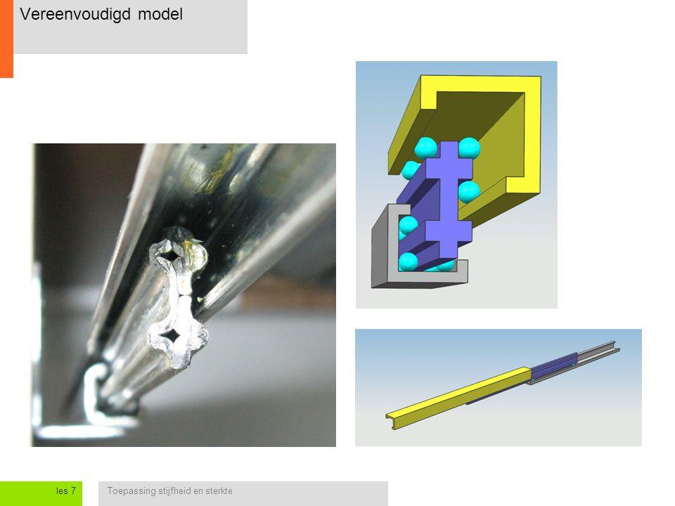Toepassing stijfheid en sterkteles 7 Opgave 3: Balk aan staalkabel aluminium vierkant kokerprofiel 40 x 40 x 3 mm A C Hoeveel verplaatst punt B in x- en y- richting.
