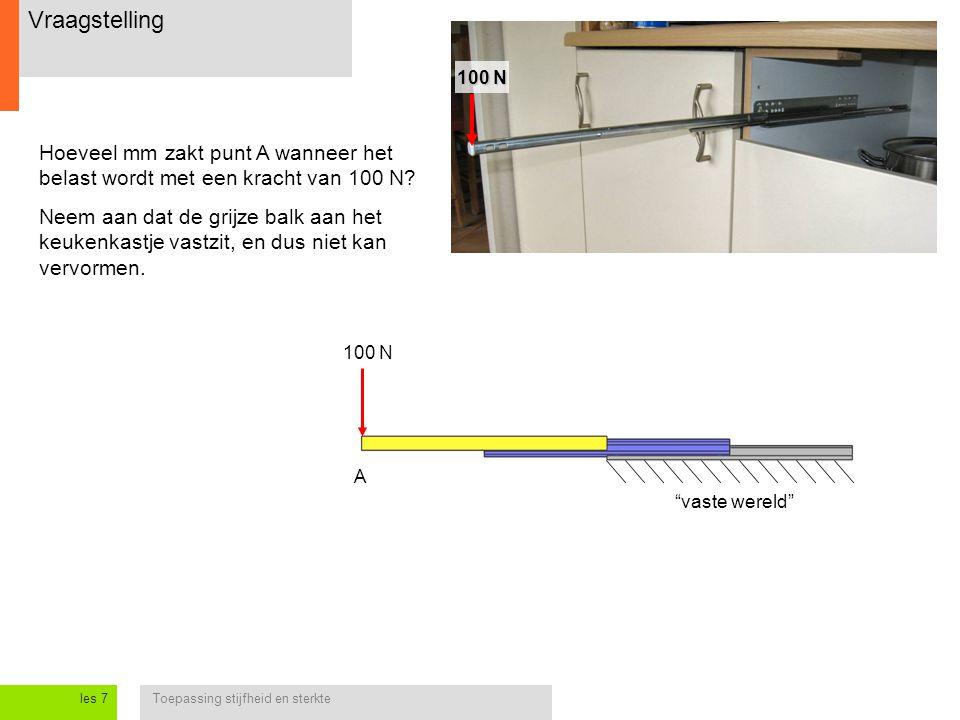 Toepassing stijfheid en sterkteles 7 Vraagstelling 100 N Hoeveel mm zakt punt A wanneer het belast wordt met een kracht van 100 N? Neem aan dat de gri