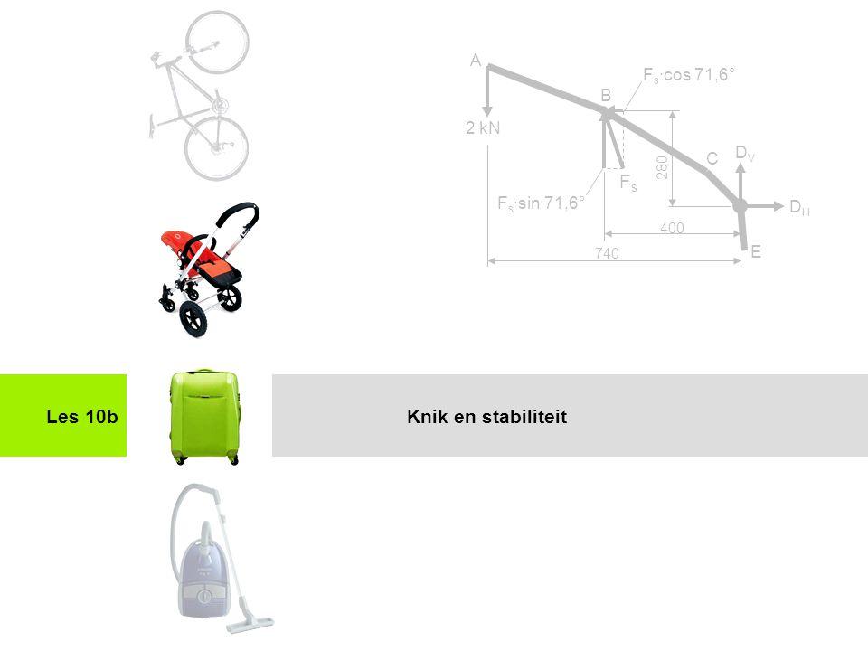 Toepassing stijfheid en sterkteles 10 Les 10b 2 kN A C E FsFs B DHDH DVDV F s ·cos 71,6° F s ·sin 71,6° 740 400 280 Knik en stabiliteit