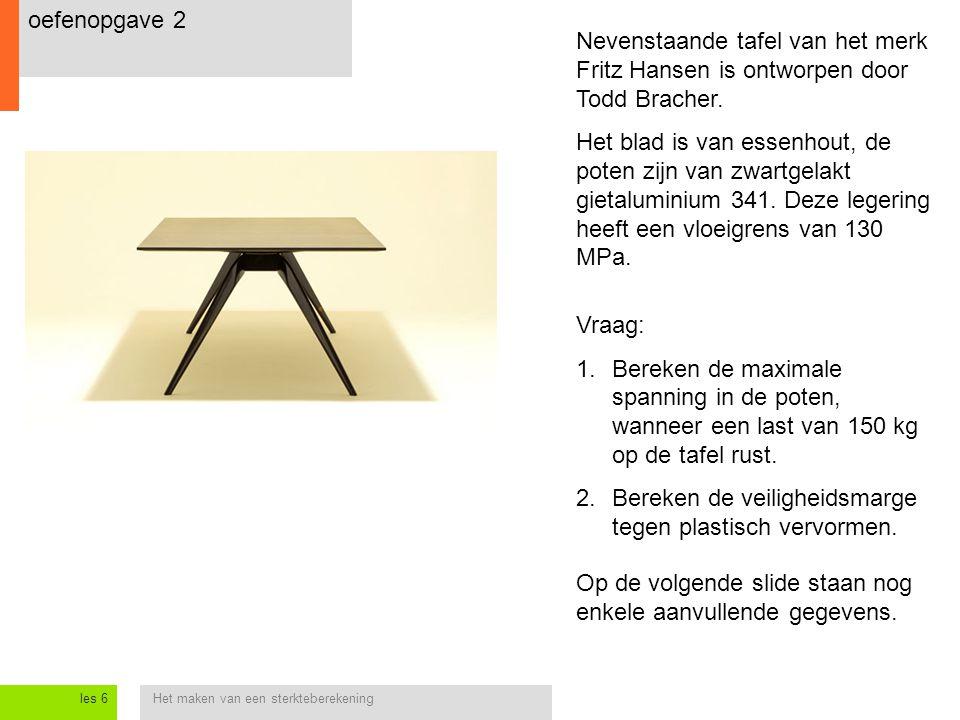 Het maken van een sterkteberekeningles 6 oefenopgave 2 Nevenstaande tafel van het merk Fritz Hansen is ontworpen door Todd Bracher. Het blad is van es
