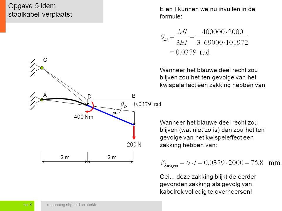 Toepassing stijfheid en sterkteles 8 Opgave 5 idem, staalkabel verplaatst E en I kunnen we nu invullen in de formule: A C D 2 m B 400 Nm Wanneer het blauwe deel recht zou blijven zou het ten gevolge van het kwispeleffect een zakking hebben van Wanneer het blauwe deel recht zou blijven (wat niet zo is) dan zou het ten gevolge van het kwispeleffect een zakking hebben van: Oei...