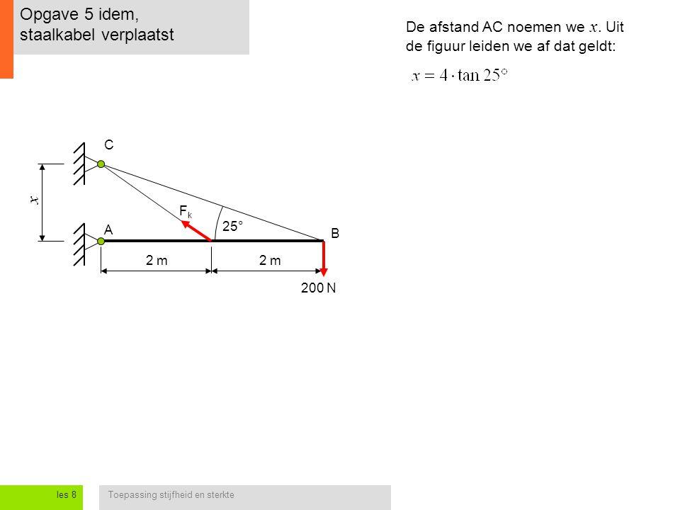 Toepassing stijfheid en sterkteles 8 Opgave 5 idem, staalkabel verplaatst 2 m 200 N A B C De afstand AC noemen we x. Uit de figuur leiden we af dat ge