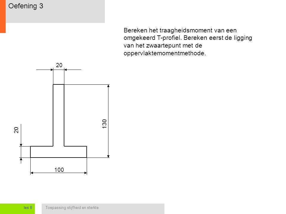 Toepassing stijfheid en sterkteles 8 Oefening 3 Bereken het traagheidsmoment van een omgekeerd T-profiel. Bereken eerst de ligging van het zwaartepunt
