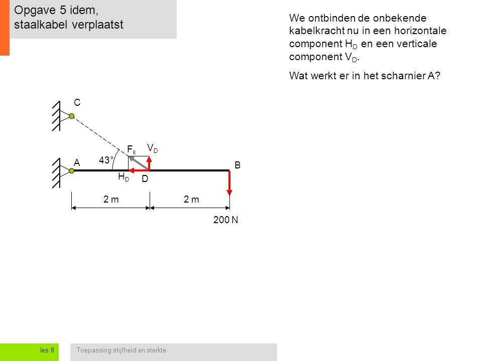 Toepassing stijfheid en sterkteles 8 Opgave 5 idem, staalkabel verplaatst 2 m 200 N A B C 2 m 43° We ontbinden de onbekende kabelkracht nu in een horizontale component H D en een verticale component V D.