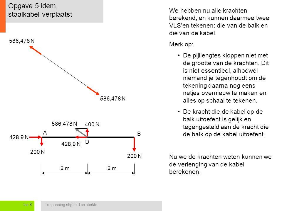 Toepassing stijfheid en sterkteles 8 Opgave 5 idem, staalkabel verplaatst 2 m A B D We hebben nu alle krachten berekend, en kunnen daarmee twee VLS'en tekenen: die van de balk en die van de kabel.