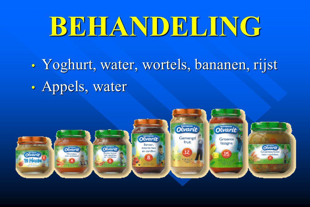 Yoghurt, water, wortels, bananen, rijst Yoghurt, water, wortels, bananen, rijst Appels, water Appels, water BEHANDELING