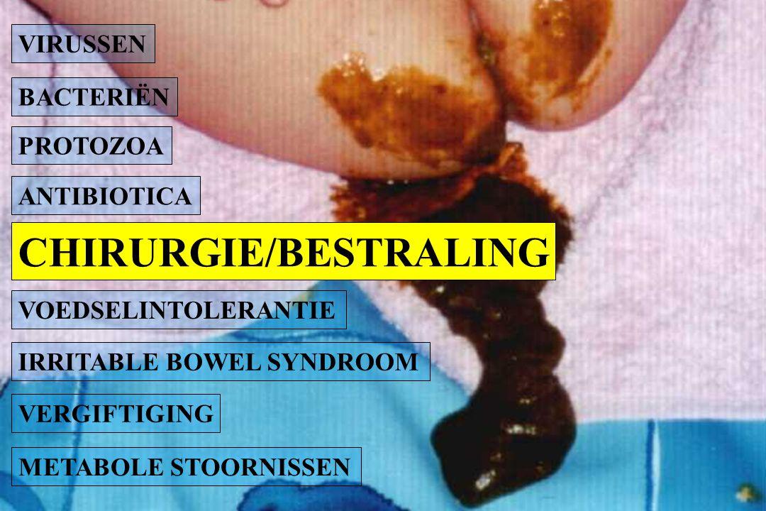 BACTERIËN PROTOZOA ANTIBIOTICA METABOLE STOORNISSEN VOEDSELINTOLERANTIE IRRITABLE BOWEL SYNDROOM VERGIFTIGING VIRUSSEN CHIRURGIE/BESTRALING