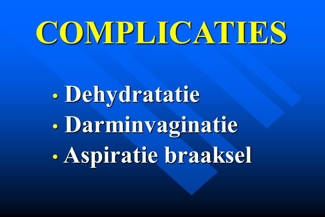 COMPLICATIES Dehydratatie Dehydratatie Darminvaginatie Darminvaginatie Aspiratie braaksel Aspiratie braaksel