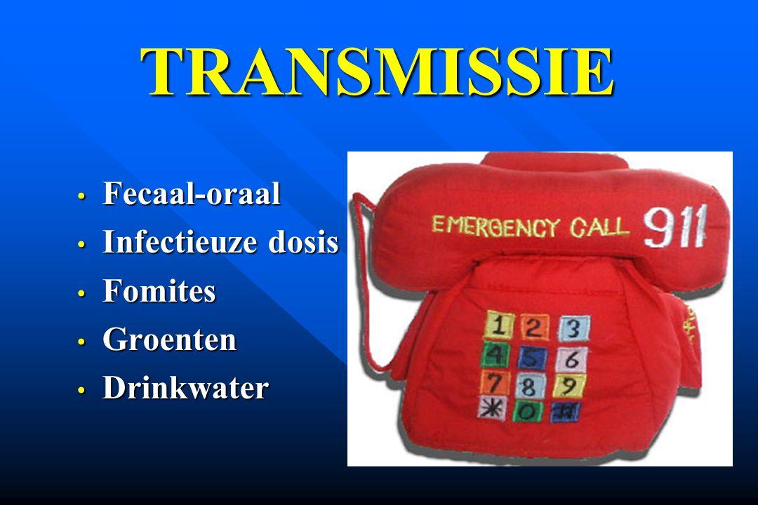 Fecaal-oraal Fecaal-oraal Infectieuze dosis Infectieuze dosis Fomites Fomites Groenten Groenten Drinkwater Drinkwater TRANSMISSIE