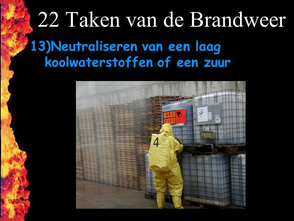F 22 Taken van de Brandweer 13)Neutraliseren van een laag koolwaterstoffen of een zuur