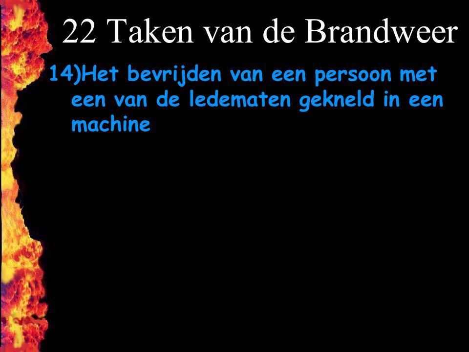 F 22 Taken van de Brandweer 14)Het bevrijden van een persoon met een van de ledematen gekneld in een machine