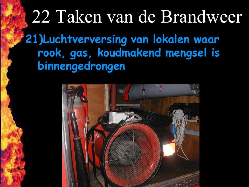 22 Taken van de Brandweer 21)Luchtverversing van lokalen waar rook, gas, koudmakend mengsel is binnengedrongen