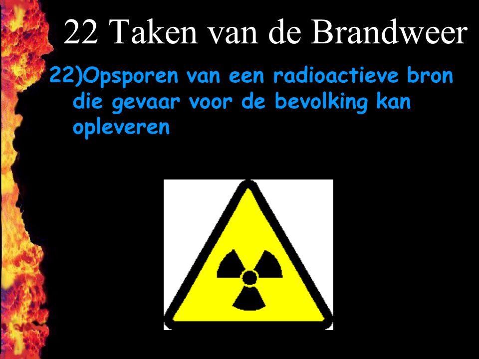 22 Taken van de Brandweer 22)Opsporen van een radioactieve bron die gevaar voor de bevolking kan opleveren