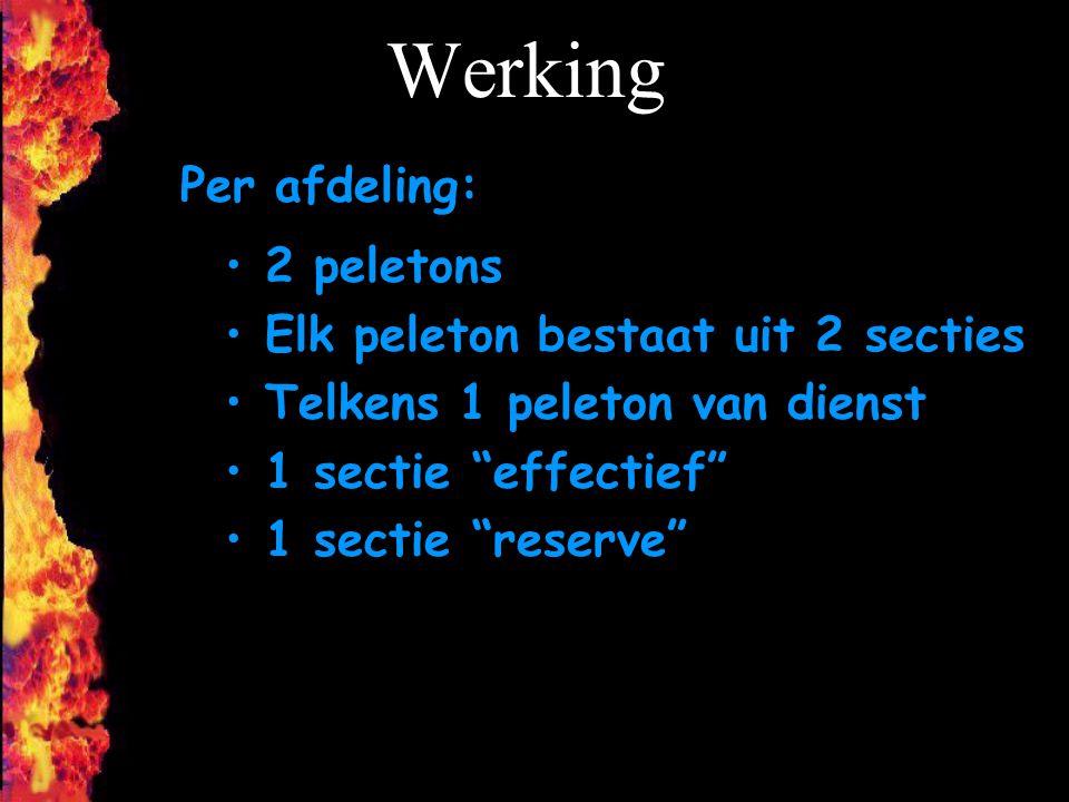 """Werking 2 peletons Elk peleton bestaat uit 2 secties Telkens 1 peleton van dienst 1 sectie """"effectief"""" 1 sectie """"reserve"""" Per afdeling:"""