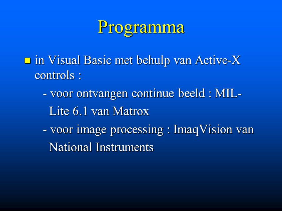 Programma in Visual Basic met behulp van Active-X controls : in Visual Basic met behulp van Active-X controls : - voor ontvangen continue beeld : MIL-