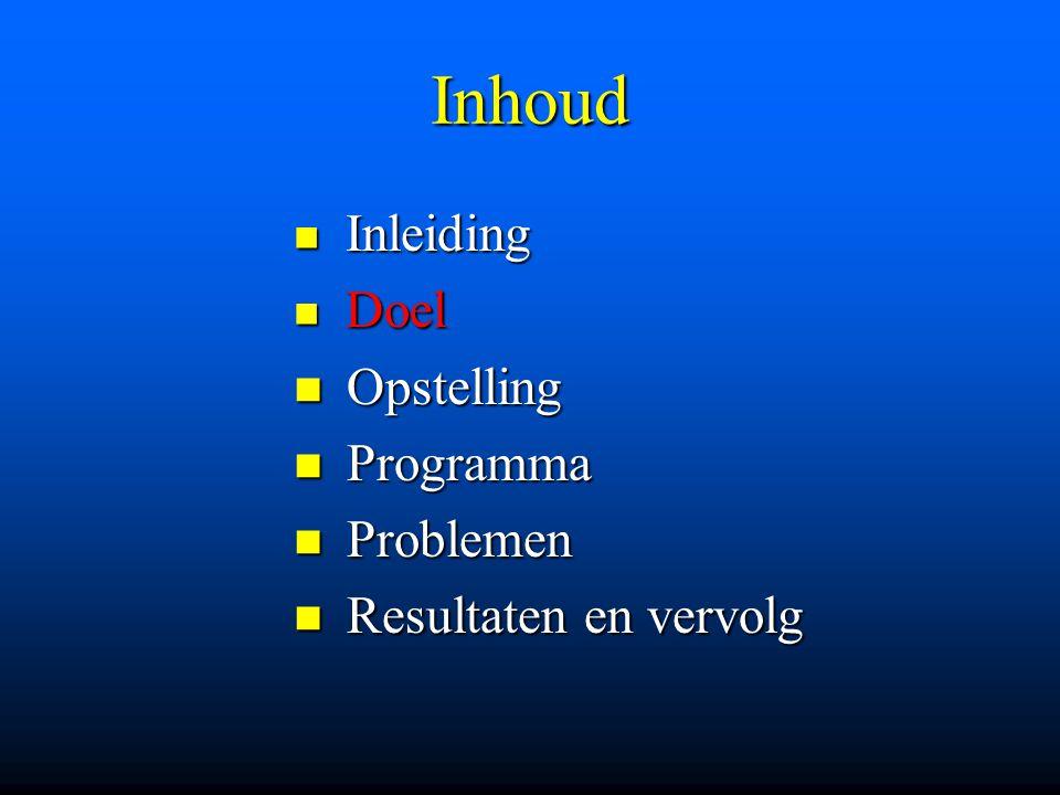 Inhoud Inleiding Inleiding Doel Doel Opstelling Opstelling Programma Programma Problemen Problemen Resultaten en vervolg Resultaten en vervolg