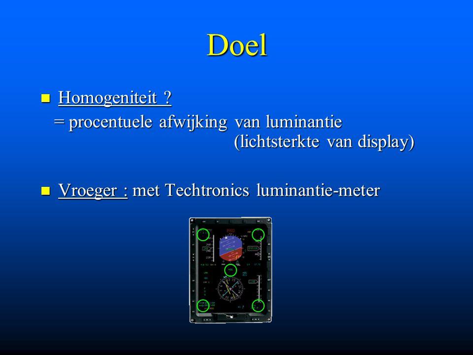 Doel Homogeniteit ? Homogeniteit ? = procentuele afwijking van luminantie (lichtsterkte van display) = procentuele afwijking van luminantie (lichtster