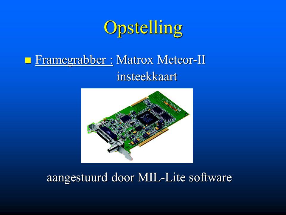 Opstelling Framegrabber : Matrox Meteor-II Framegrabber : Matrox Meteor-II insteekkaart insteekkaart aangestuurd door MIL-Lite software aangestuurd do