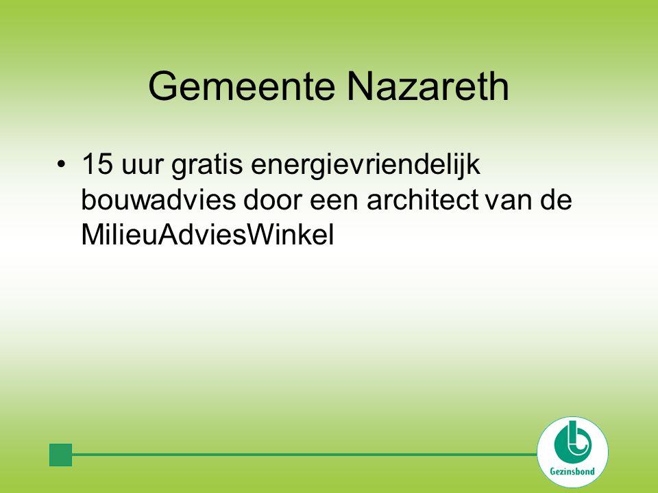 Gemeente Nazareth 15 uur gratis energievriendelijk bouwadvies door een architect van de MilieuAdviesWinkel