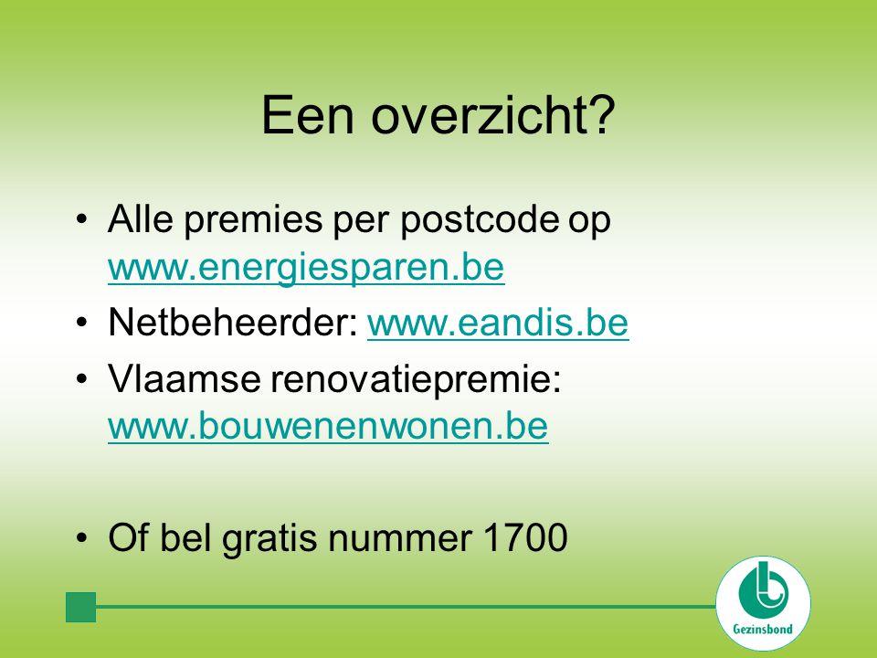 Een overzicht? Alle premies per postcode op www.energiesparen.be www.energiesparen.be Netbeheerder: www.eandis.bewww.eandis.be Vlaamse renovatiepremie