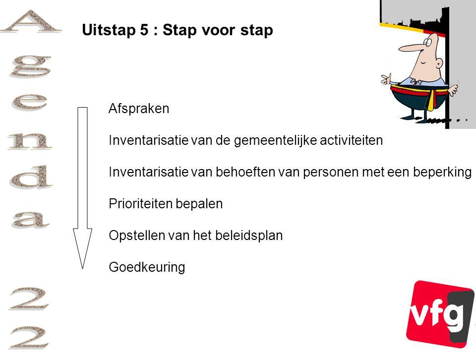 Uitstap 5 : Stap voor stap Afspraken Inventarisatie van de gemeentelijke activiteiten Inventarisatie van behoeften van personen met een beperking Prioriteiten bepalen Opstellen van het beleidsplan Goedkeuring