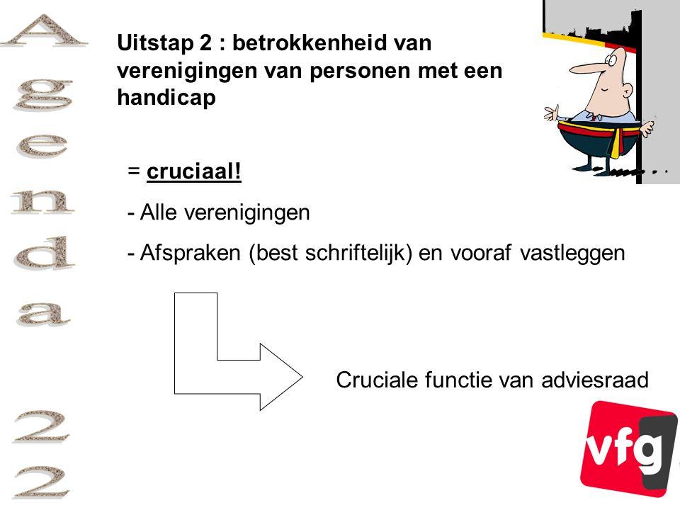Uitstap 2 : betrokkenheid van verenigingen van personen met een handicap = cruciaal.