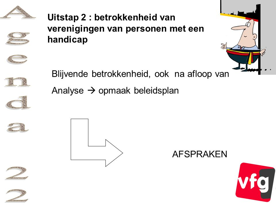 Uitstap 2 : betrokkenheid van verenigingen van personen met een handicap Blijvende betrokkenheid, ook na afloop van Analyse  opmaak beleidsplan AFSPRAKEN