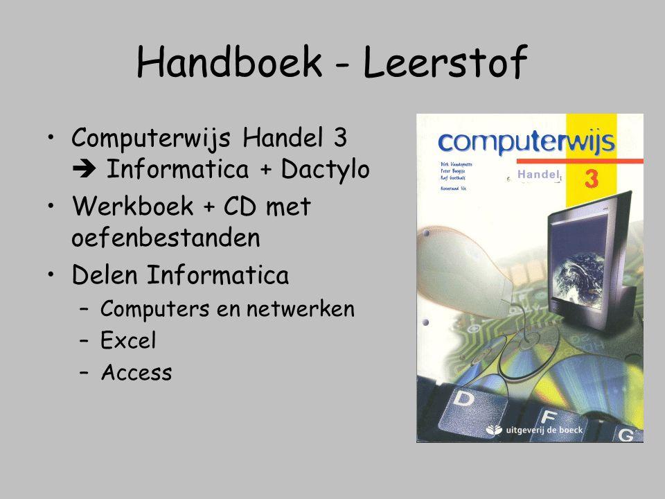 Handboek - Leerstof Computerwijs Handel 3  Informatica + Dactylo Werkboek + CD met oefenbestanden Delen Informatica –Computers en netwerken –Excel –A