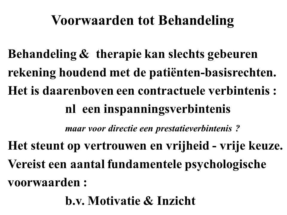 Behandeling & therapie kan slechts gebeuren rekening houdend met de patiënten-basisrechten. Het is daarenboven een contractuele verbintenis : nl een i
